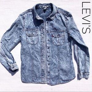 LEVI'S Acid Washed Denim Button Up